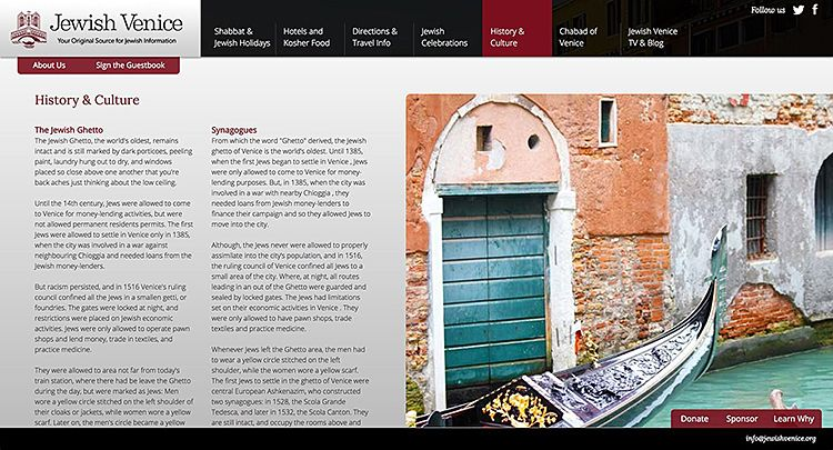 Chabad Venice history page on site
