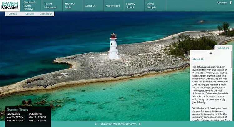 Chabad Bahamas main page with about us visible
