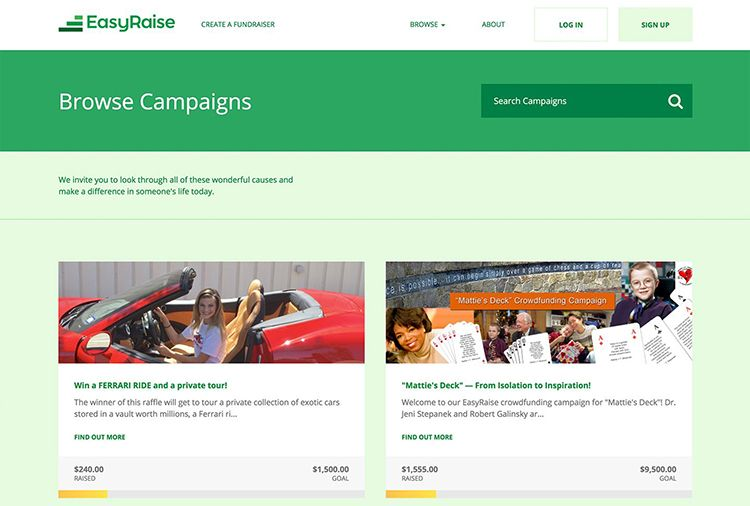 Browsing campaigns on the EasyRaise platform