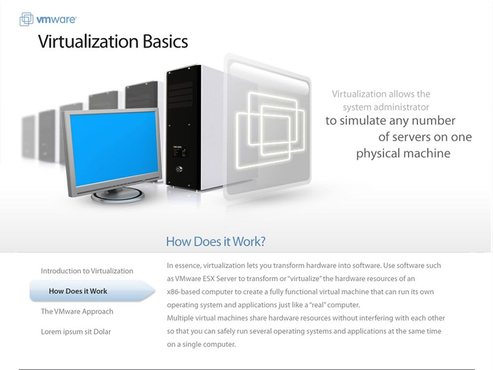 Screenshot of VMware virtualization education site